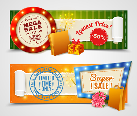 limited time: Sale light horizontal banners set with lowest price and limited time offer symbols realistic isolated vector illustration Illustration