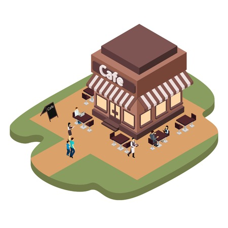 waitresses: Cafe building with waitresses serving coffee for people isometric vector illustration