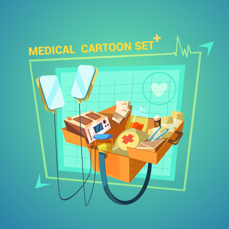 reanimation: Medical cartoon set with heart and injury treatment symbols vector illustration
