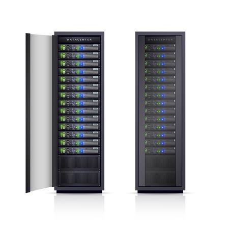 2 つの黒の調節可能なコンピューター サーバー ラック エンクロージャ ボックス デザイン印刷アイコン現実的な分離ベクトル図  イラスト・ベクター素材