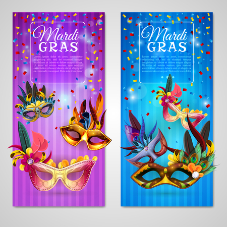 Carnival realistic vertical banners set with mardi gras isolated vector illustration