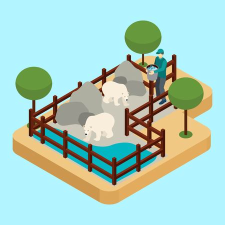 savety: Zoo worker and polar bears with rocks and water on blue background isometric vector illustration
