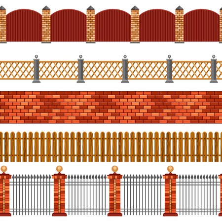 boundaries: Vector illustration of horizontal seamless set of flat isolated fences and borders on white background