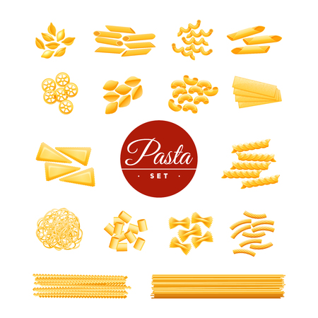 Italian traditional cuisine dry pasta varieties icons collection of spaghetti macaroni and penne realistic isolated vector illustration