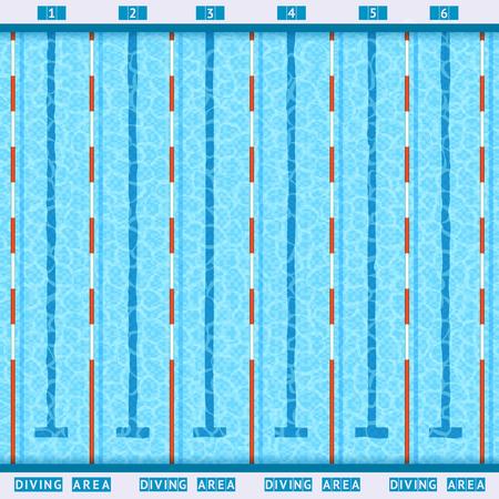 competición deportiva piscina carriles profundas del baño vista superior plana pictograma con la ilustración vectorial de agua azul transparente limpia