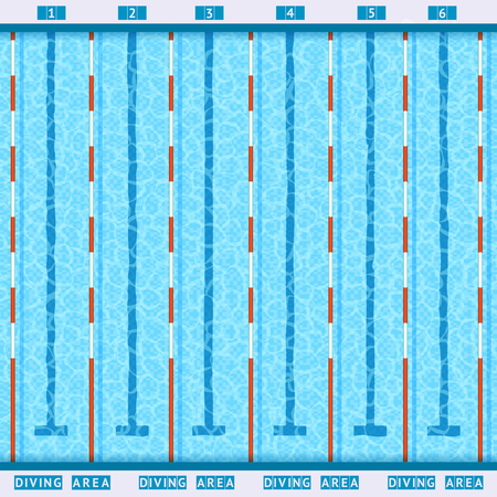 sports competition swimming pool deep bath lanes top view flat pictogram with clean transparent blue water vector illustration Stock Illustratie