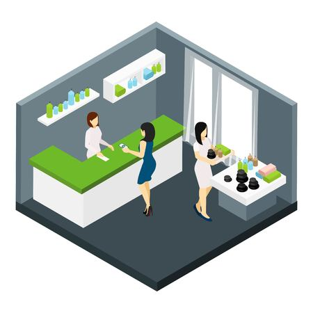 beauty spa: Spa and beauty salon with massage stones and aromatherapy isometric vector illustration