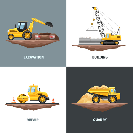 maquinaria de construcción diseño edificio 4 iconos planos con grúa excavadora amarilla y abstracto camión ilustración vectorial aislado