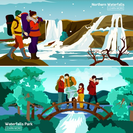 travelers: Two flat waterfall landscapes compositions with north travelers and family walking in park vector illustration