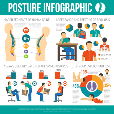 Posture Infografiken Layout mit großen Segmenten der menschlichen Wirbelsäule Informationen und das Aussehen und die Behandlung von Skoliose und Osteochondrose Statistiken flachen Vektor-Illustration
