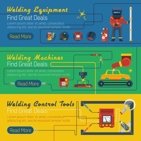 cleats: Tree welder horizontal banners with advertising of control tools  and equipment for welding works flat vector illustration
