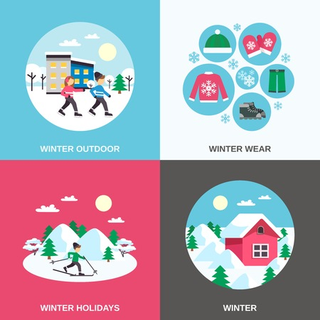 winter clothing: Winter holidays and outdoor clothing 4 flat icons square composition with skating children abstract isolated vector illustration Illustration