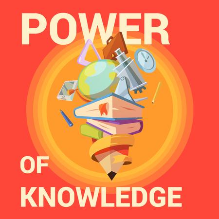 pen cartoon: Education poster with school learning supplies in retro cartoon style vector illustration Illustration