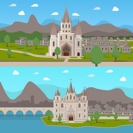 historical: Two horizontal compositions with  gothic temples in cartoon style on medieval town background flat vector illustration