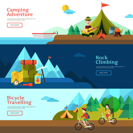 trip: Camping flat horizontal banner set for web design and presentation vector illustration