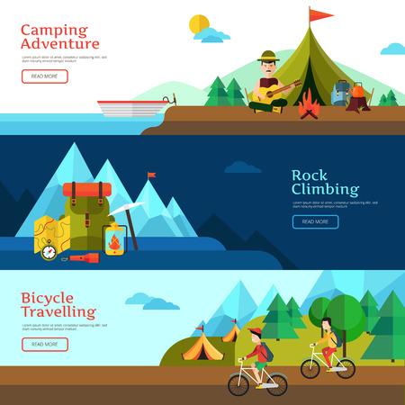 Camping flat horizontal banner set for web design and presentation vector illustration