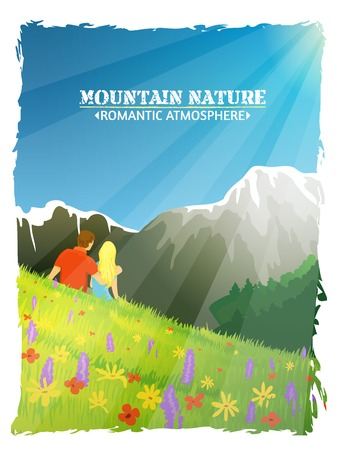 mountain landscape: Mountain landscape nature background poster with tourists sitting among alpine spring flowers abstract vector illustration