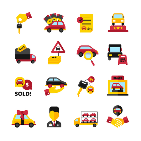 automobile dealership: Car dealership flat decorative icons set with vehicles keys handshake salesperson contract isolated vector illustration