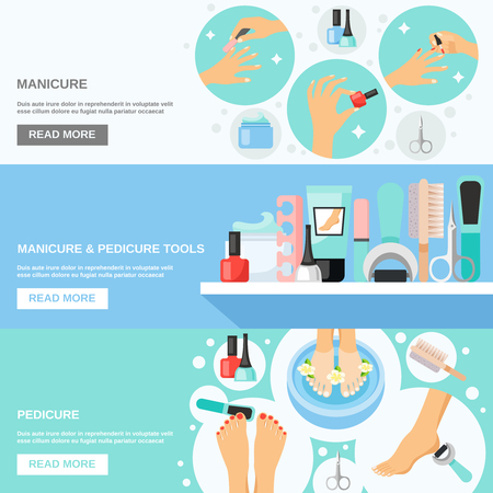 cuticle: Manicure pedicure nails file callus removing tools kit and information 3 flat banners webpage design vector illustration