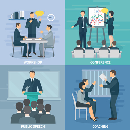 workshop: Public speaking skills coaching workshop presentation and conference 4 flat icons composition square abstract isolated illustration vector