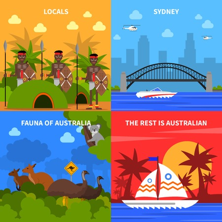fauna: Australia concept icons set with locals and fauna symbols flat isolated vector illustration Illustration