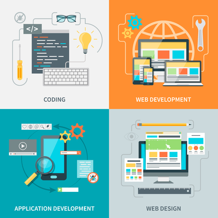 Set of pictures with various stages of website development process vector illustration Illustration