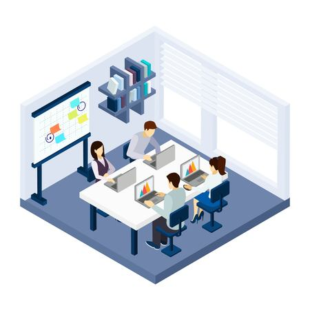 Coworking people in a room with laptop table and chairs isometric vector illustration