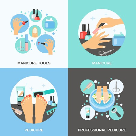 finger nails: Professional manicure and pedicure procedure tools and accessories 4 flat icons square banner abstract isolated vector illustration Illustration