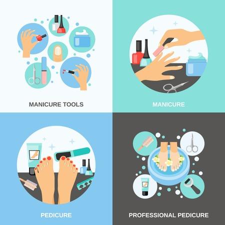 Professionele manicure en pedicure procedure gereedschappen en toebehoren 4 vlakke pictogrammen vierkante banner abstract geïsoleerde vector illustratie