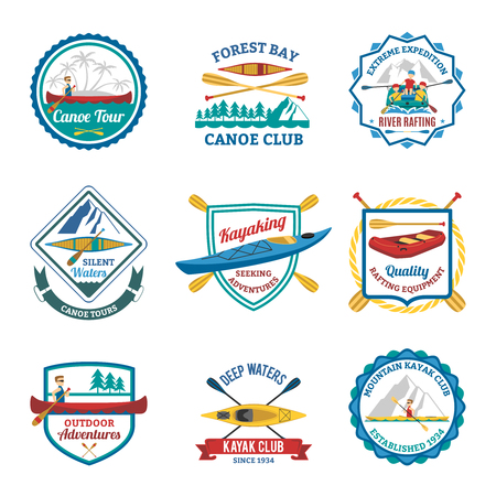 Canoe and kayak mountain sport clubs flat emblems and river rafting labels collection abstract isolated vector illustration