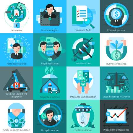 internet services: Business insurance icons set with insurance agent and audit symbols flat isolated vector illustration Illustration