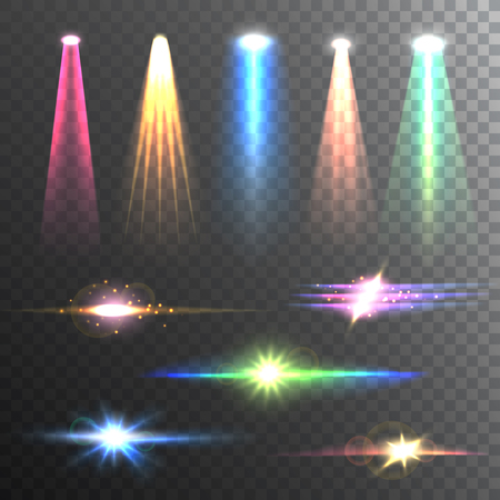 gleaming: Beam lights of different color and shapes projections gleaming in the darkness composition banner abstract vector illustration
