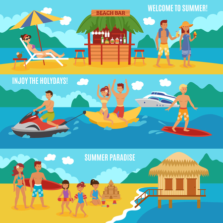 couple beach sunset: Beach people horizontal banner set with family summer vacation elements isolated vector illustration