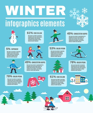 winter tree: Winter outdoor activities warm clothing and season celebration flat icons infographic elements with text banner vector illustration Illustration