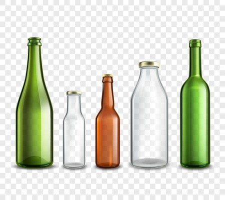 Glass bottles realistic 3d set isolated on transparent background vector illustration
