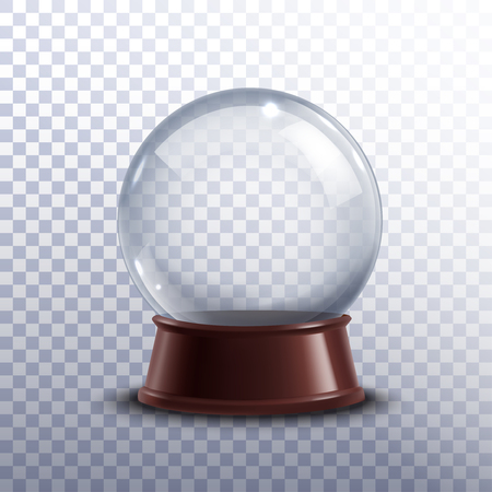 glass ball: Realisitc 3d snow globe toy isolated on transparent background vector illustration
