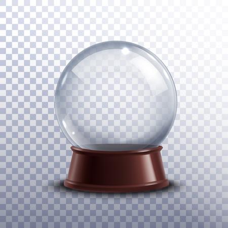 Realitätsnahe 3D-Spielzeug-Schneekugel auf transparentem Hintergrund Vektor-Illustration isoliert