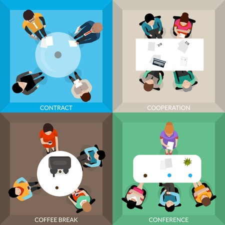 business contract: Business communications top view set of typical situations contract cooperation coffee break conference isolated vector illustration Illustration