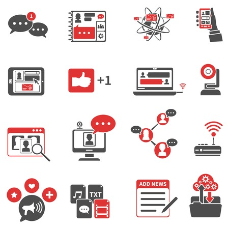 Social network red black icons set with wireless communication symbols flat isolated vector illustration