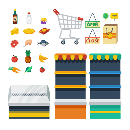 shelf: Supermarket flat decorative icons collection with food products shopping cart store shelves paper bag isolated vector illustration