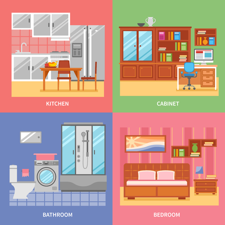abstracts: Kitchen cabinet bathroom bedroom interior abstracts vector illustration Illustration