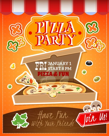 Pizza party cartoon advertising poster with date and time vector illustration Illustration