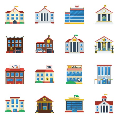 Government buildings flat color icon set of theatre restaurant hospital museum isolated vector illustration