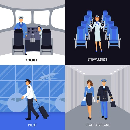 airport lounge: Pilot and stewardess in the cockpit and walking to the plane 4 flat icons square abstract vector illustration Illustration