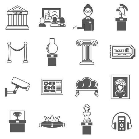 museum: Museum decorative black icons set of ancient sculpture audio classical picture knight armor and museum caretaker isolated vector illustration Illustration