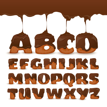 Melting chocolate ginger cookies letters frosting poster with appetizing mouth watering alphabet for kids abstract vector illustration