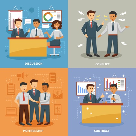 conflict: Business life design concept set with flat discussion office conflict and partnership flat icons isolated vector illustration