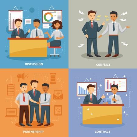 concepto de diseño de vida de negocios conjunto con la oficina de conflicto discusión plana y la asociación iconos planos aislados ilustración vectorial Ilustración de vector