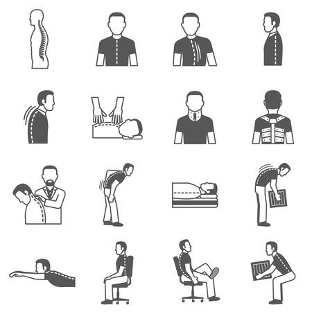 Prävention und Behandlung Wirbelsäulenerkrankungen schwarz isoliert Icons Set Vektor-Illustration
