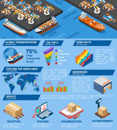 Seaport cargo transport en opslag infographic isometrische poster met wereld top havens statistieken abstracte illustratie Vector Illustratie
